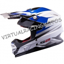 CASCO DE CROSS LS2 MX456.48 FACTORY BLANCO-NEGRO-AZUL