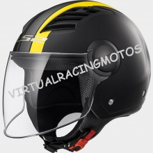 CASCO JET LS2 OF562 AIRFLOW METROPOLIS MATT BLACK H - V YELLOW